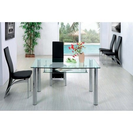 Big Compact - Transparent Glass Dining Table and 4 D212 Chairs