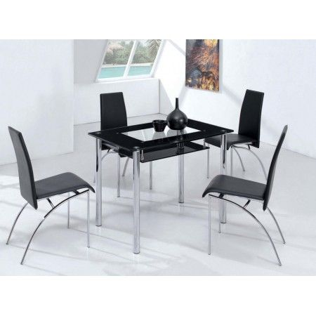 Small Compact - Black Glass Dining Table with 4 D211 Chairs
