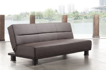 Faux Leather Brown Sofabed San Diego 3 seater