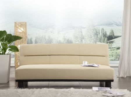 Faux Leather Cream Sofabed San Diego 3 seater