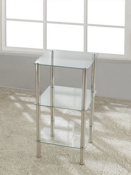 3 Tier Square Glass Stand Coffee Table Bathroom Clear FU-NICHA Genuine Brand
