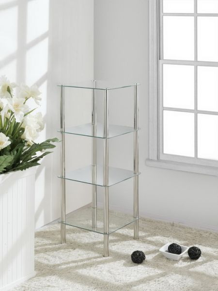 4 Tier Square Glass Stand Coffee Table Bathroom Clear