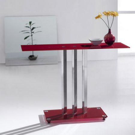 Glass console table Trilogy Red