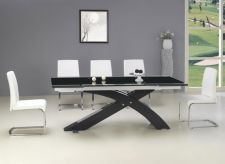 'NEXUS' Large Top Quality Extending Dining Table Black and Set of 8 Chairs