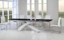 'NEXUS' Large Top Quality Extending Dining Table White and Set of 8 Chairs