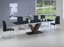 Black Glass Walnut Extending Dining Table 2.9m + 8 Black Chairs