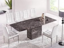 Zeus Brown Grey Marble Extending Dining Table and 8 White Chairs
