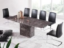 Zeus Brown Grey Marble Extending Dining Table 6 Chairs
