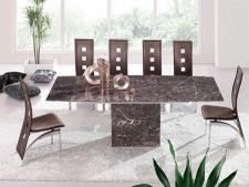 Zeus Brown Grey Marble Extending Dining Table and 6 D215 Chairs