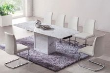 Zeus White Grey Marble Extending Dining Table 6 Chairs