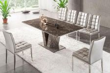 Hera Brown Grey Marble V Leg Dining Table and 6 Chairs