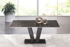 Hera Brown Grey Marble V Leg Dining Table