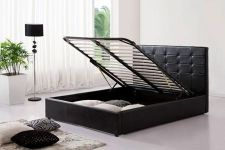Black Ottoman Faux Leather Kingsize Bed with Storage