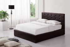 Brown Ottoman Faux Leather Kingsize Bed with Storage