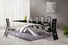 'NEXUS' Large Top Quality Extending Dining Table White and Set of 8 Chairs D215