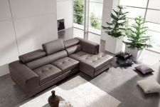 Modena Genuine Leather Corner Sofa Brown