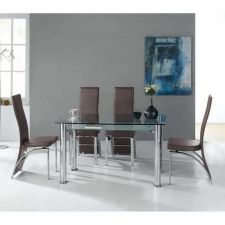 Briano table and 4 Dali chairs black
