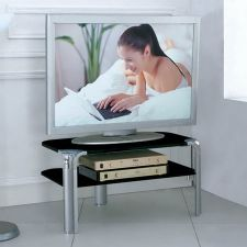 Glass plasma tv stand Erica Small Black
