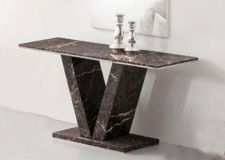 HERA Brown Grey Marble V Leg Console Hall Sofa Table
