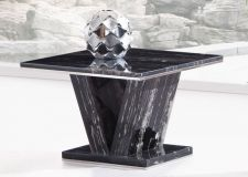 Hera Black Marble V Leg Side, End or Lamp table