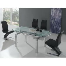 Mega Extending Glass dining Table Frosted + 6 x D216 chairs set