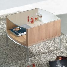 Glass side table Metro Oak