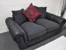 Paprika Black and Red Fabric 2 Seater Sofa