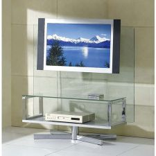 Glass plasma tv stand Swivel Clear