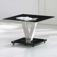 V - Glass side table Black