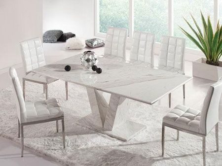 Hera White Grey Marble V Leg Dining Table and 6 Chairs