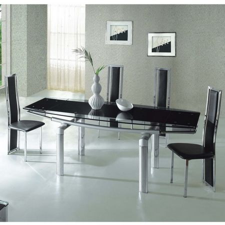 Mega Extending Glass dining Table Black + 6 x D231 chairs set