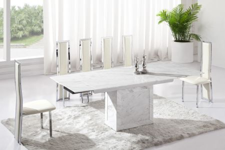 Zeus White Grey Marble V Leg Dining Table and 6 Chairs