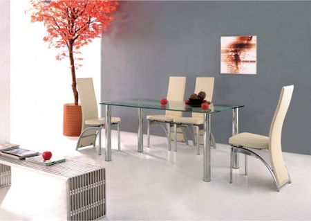 Trevero - Glass Dining Table + 6 x D212 Chairs