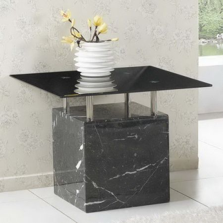 Marble side table Athens Black with Black Glass