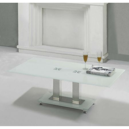 Glass coffee table Ice Ivory