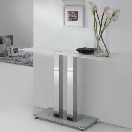 Glass console table Ice Ivory