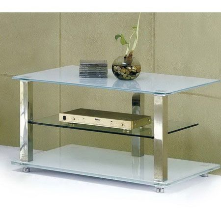Glass plasma tv stand Ice Ivory