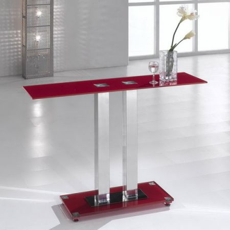 Glass console table Ice Red