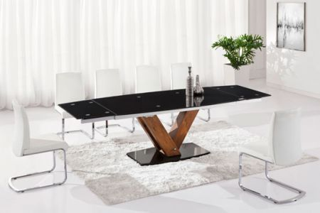 Walnut extending dining table Ultra Large 2.7m + 8 D237 chairs
