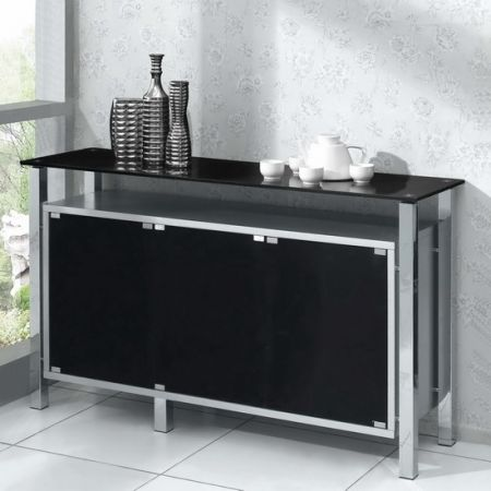 Wood Sideboard Venus 3 door Silver with Black glass
