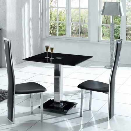 Glass Dining Set Square Ice Black with 4 Tuxedo Chairs