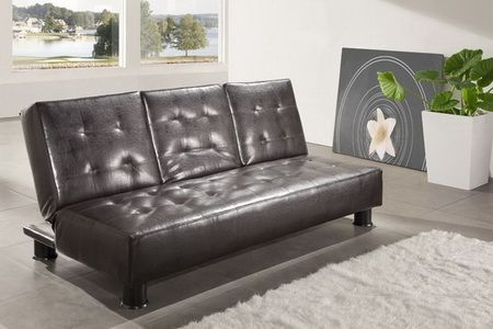Faux Leather Brown Sofabed Detroit with cupholder