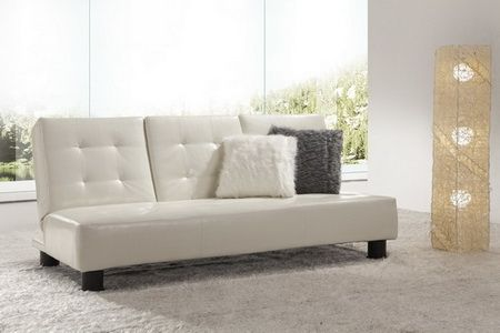 Faux Leather Cream Sofabed Detroit with cupholder