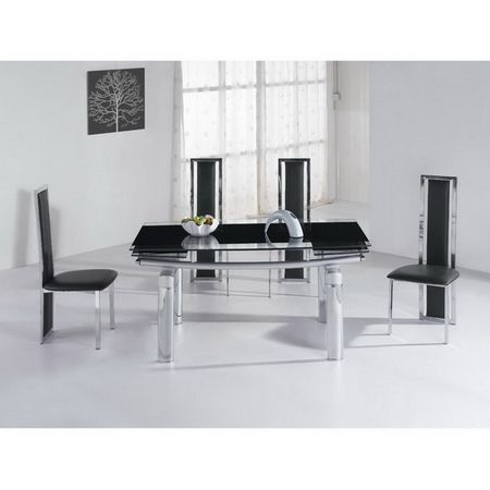 Mega Extending Glass dining Table + 6 x D216 chairs set FREE DEL