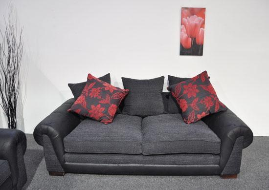 Wonderful Black And Red Fabric 3 Seater Sofa